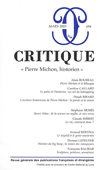 Critique 694/Mars 2005. Pierre Michon